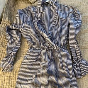 Express Striped Cotton Poplin Faux Wrap Dress